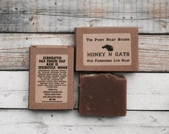 Honey n Oats Handcrafted Old Fashioned Lye Soap 5 oz bar