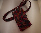 Red Teal Brown Zipper Leaf Print Cell Phone Lanyard Wallet Wristlet Organizer Tote