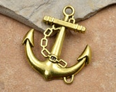 Gold Anchor Charms, 12 pcs, 22mm,  Anchor Pendant -C96