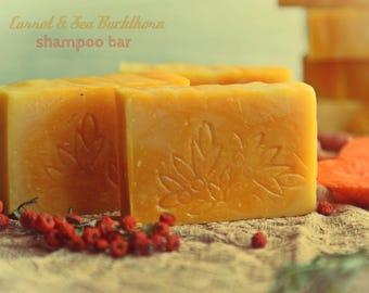 Carrot & Sea Buckthorn Shampoo Bar. Vegan organic shampoo. All natural. For dry to normal hair