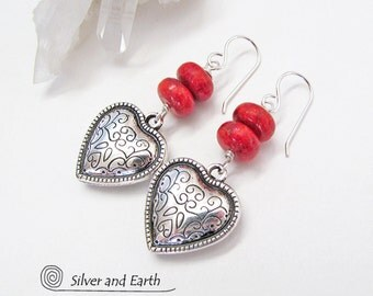 Silver Heart Earrings, Red Coral Earrings, Silver Dangle Earrings, Heart Jewelry, Red Earrings, Romantic Gift for Her, Gifts for Wife / Mom