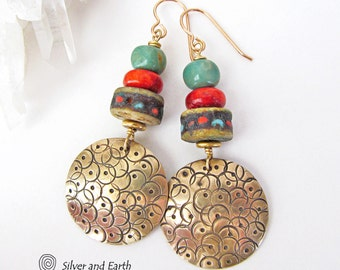 Tribal Earrings, Brass Earrings with Red Coral & Turquoise, African Earrings, Handmade Bohemian Boho Tribal Jewelry, Ethnic African Jewelry