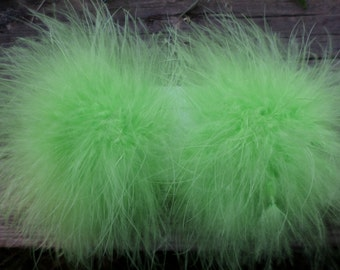 A Pair of Marabou Feather Puff Hair Clips With No-Slip Grips Lime Green