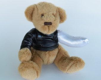 Winter Soldier Bucky Bear, altered bear stuffed toy