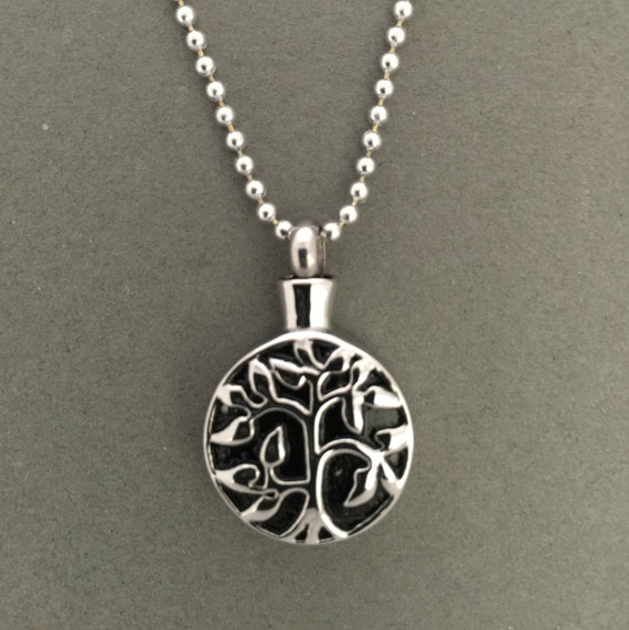 tree of life urn necklace ashes holder cremation jewelry. Black Bedroom Furniture Sets. Home Design Ideas