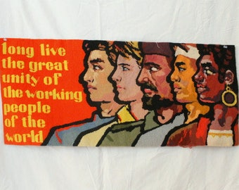 1970s Communist - International Labor Day China - RED Needlepoint - Solidarity - Folk Art - Marx Lenin Mao - CPUSA - Feng Jianqin, Feng Zhi