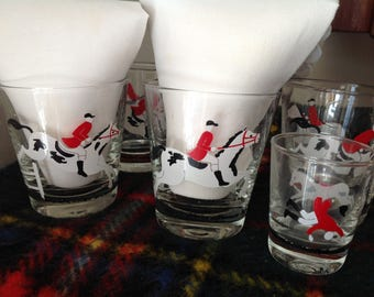 Vintage Libby Barware Tally Ho Set of 6 Old-Fashion and 3 Shot Glasses