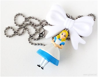 Alice in Wonderland Figure Necklace, Alice Necklace, White Bow Pendant, Sweet Lolita, Kawaii Jewelry, OOAK