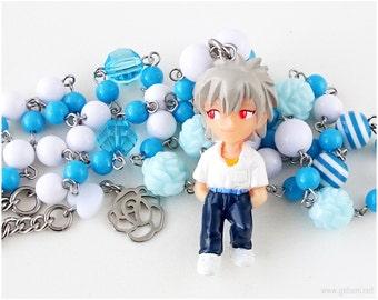 Kaworu Nagisa Beaded Necklace, Anime Necklace, Anime Jewelry, NGE, White, Blue, Stainless Steel