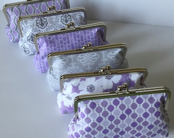Purple and Gray Clutch Purse, Spring Bridesmaid Clutch,  Personalized Bridal Clutch Purse.