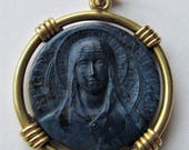 RESERVED  Virgin Mary Queen Of Martyrs Antique 18 Karat Gold Stone French Religious Medal Art Nouveau  Pendant By P L Dasset   SS188