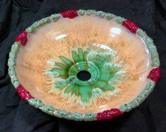 "READY TO SHIP Amazing 3D Flower Boarder Rim Tan Gold Green Red Crystalline Glazed Porcelain Vessel Sink 15 3/4"" in Diameter"