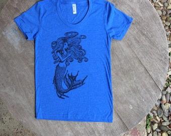 Mermaid Goddess tee / Hand drawn design / American Apparel womens scoop neck tee