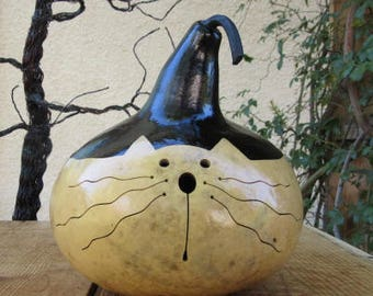 Kitty Cat Gourd Nautral Primitive Decoration
