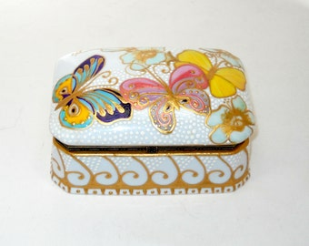 Large Porcelain Jewelry Casket Hand Painted Butterfly Jewelry Box, Hinged Lid Porcelain Memory Box