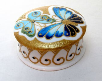 Blue Butterfly Vanity Box Keepsake Jewelry Box Hand Painted Porcelain Trinket Ring Box Earring Dish