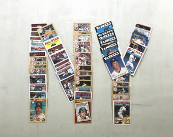 Gift For Men - Vintage New York Yankees Baseball Cards, Set of 30 - Fathers Day Baseball Gift For Dad - 80s & 90s Topps Baseball Cards