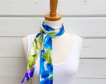 Floral Skinny Scarf Cotton Skinny Scarf, Neck Tie for Women, Long Purple, Blue Scarf, Headband, Choker Scarf, Head Wrap, Summer  Scarf