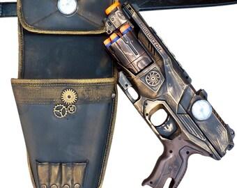 Steampunk Elite Disruptor toy Gun HOLSTER  BELT Zombie walking man Nerf soft dart Vampire Victorian cosplay Limited