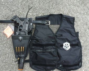 Steampunk gun holster belt ammo pouch - vest NERF Maverick N-strike Soft Dart toy Zombie man Victorian US Marshal Tombstone Sheriff