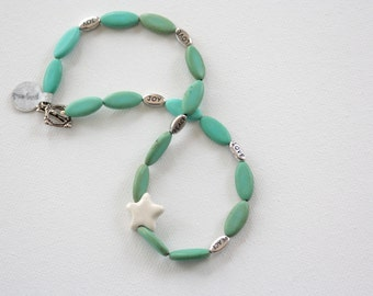 STAR POWER, Peace Love Joy, Magnesite beads with Clay Star and Silver Sayings, 16-inch necklace