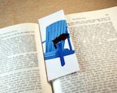 Black Cat Asleep on Adirondack Chair Bookmark - Original, Laminated Illustration