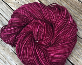 Song of the Sirens Hand Dyed Worsted Weight Yarn Burgandy cranberry Hand Painted yarn 218 yards Superwash Merino Wool treasure goddess swm