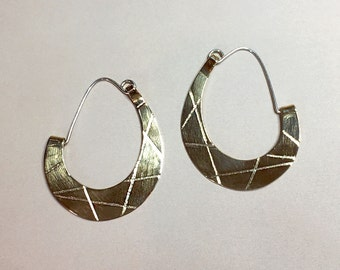 Big Brass Earrings, Big Hoops Earrings, Golden Brass and Sterling Silver Earrings