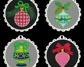 FSL CHRISTMAS ORNAMENTS (4inch) - 10 Machine Embroidery Designs Instant Download 4x4 hoop (AzEB)