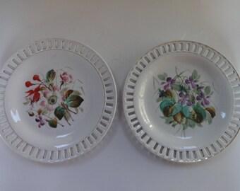 Pair of Antique China Ribbon Plates