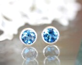 Holidays Sale - London Blue Topaz Sterling Silver Ear Studs, No Nickel / Nickel Free Studs, Birthstone, Gemstone - Made to Order