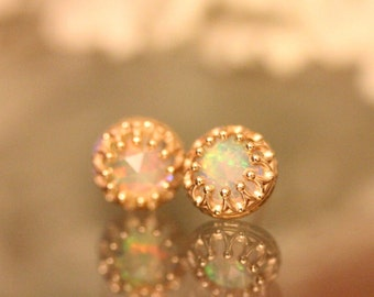 Rose Cut Opal In 14K Gold Ear Studs, Earrings, Crown Setting Earrings, Recycled Gold, Eco Friendly Gold - Made to Order