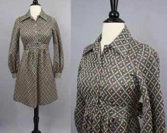 vintage 70s Mod Gray Geometric Diamond Print Mini Dress / 1970s Heavy Knit Long Sleeve Fall Winter Dress / Extra Small - Small