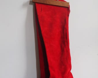 1980s Never Worn Deadstock NWoT Red Suede Thigh High Heel Boots