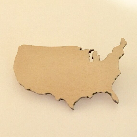 United States Shape Brooch, Patriotic Jewelry, Fourth of July, Pin Made from Lasercut Birch Wood, America Pin, American Style