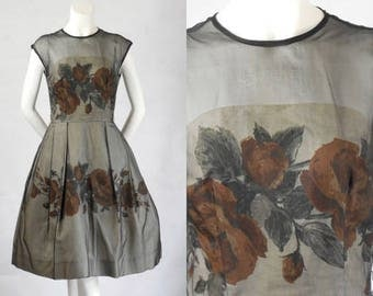 RESERVED 1950 1960 Vintage Elinor Gay Original Black Organza Over Rayon Bubble Dress with Rust Roses