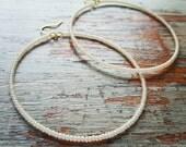 Pearl Hoop Earrings, beaded hoop Earrings, ivory hoop Earrings, ivory, pearl, seed bead, seed bead earrings, ivory pearl, white, hoop