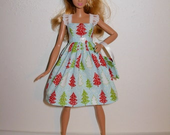 Handmade barbie clothes, CUTE Christmas dress and bag for new barbie tall doll