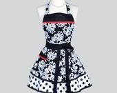 Ruffled Retro / Black and White Damask Elegance with Just a Touch of Red Cute and Flirty Apron is Ideal to Personalize or Monogram