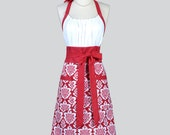 Cute Kitsch - Modern Chef Apron in Burgundy Red and White Damask Womens Christmas Holiday Retro Kitchen Cooking Apron Gifts for Her