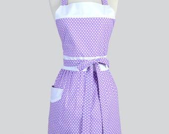 Classic Womens Apron , Purple Lavender and White Polka Dot Retro Vintage Style Kitchen Apron
