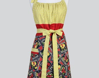 Cute Kitsch Womens Apron , Farmers Market Apples Oranges and Pears Assorted Fruits Retro Vintage Style Kitchen Apron with Pockets