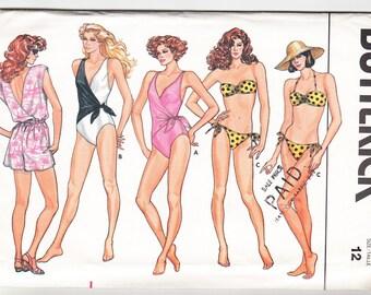 Classic 1986 Butterick 3765 UNCUT Sewing Pattern Misses' Jumpsuit & SwimSuit Size 12 Bust 34