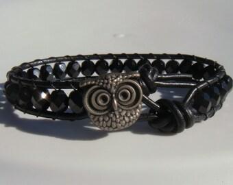 Owl Bracelet Black Beaded Leather Bracelet