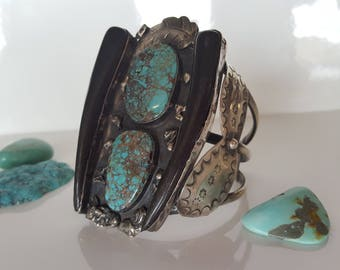 Men's Turquoise and Talon Sterling Cuff