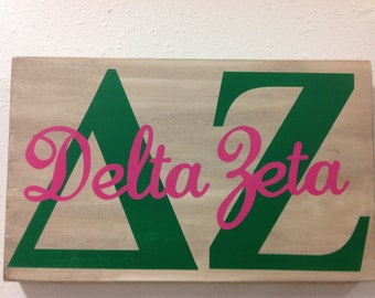 Delta Zeta vintage style sign sorority Greek letters big little