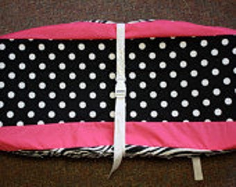 Hot pink zebra dot changing pad cover