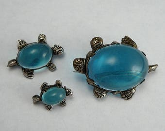 Jelly Belly Turtle Family Brooch Set Vintage Aqua Lucite Pins