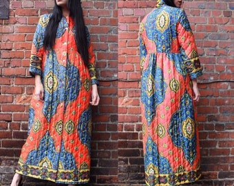 Vintage Quilted Bright Patterned Maxi Dress