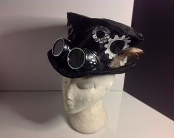 Unique OOAK Handmade Steampunk Black with cogs, goggles and feathers Felt Fancy Top Hat, medium